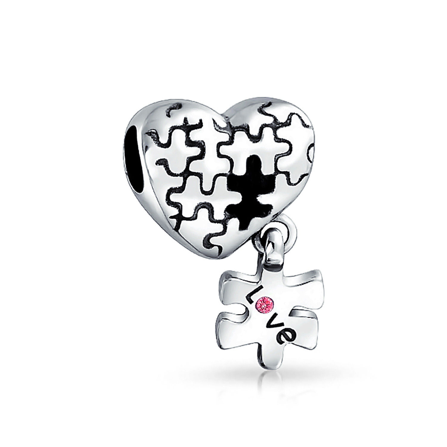 1500x1500 Bling Jewelry 925 Silver Autism Charm Puzzle Dangle Heart Bead