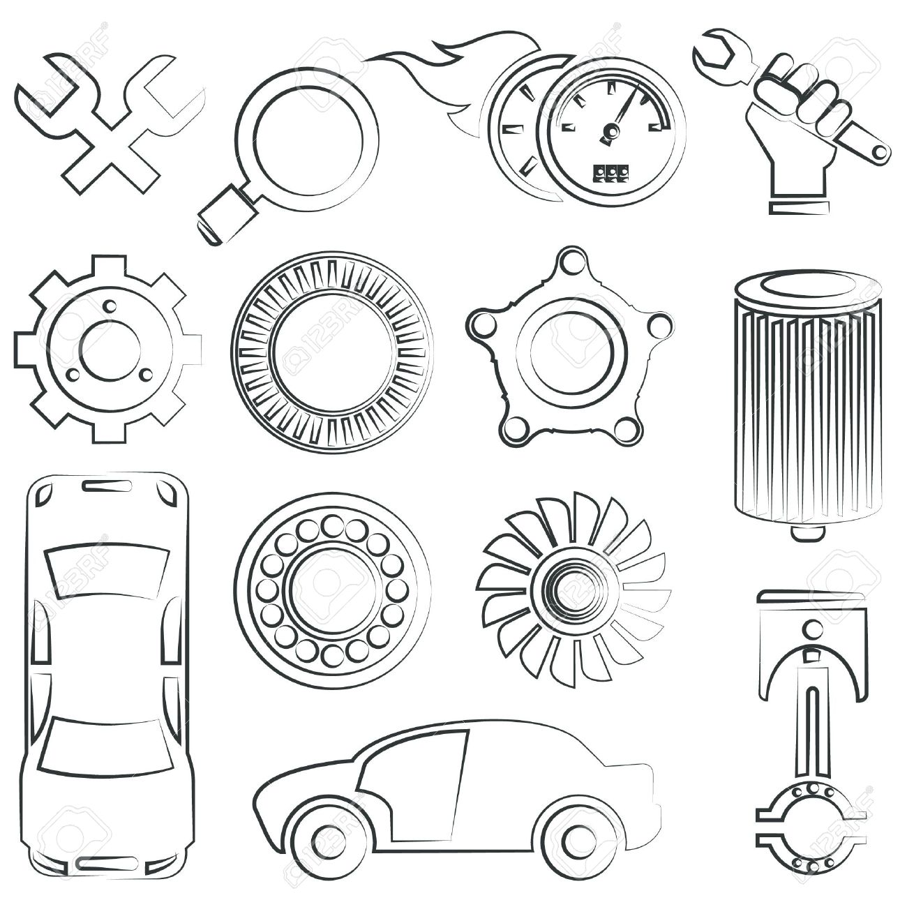 Auto Parts Drawing At Free For Personal Use Jeep Engine Diagram Car And Component 1300x1300 Sketched Set Royalty Cliparts Vectors Stock