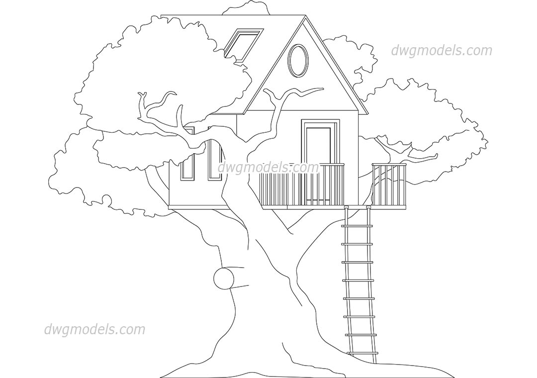1080x760 Treehouse Block Autocad Download, Free Cad Drawing