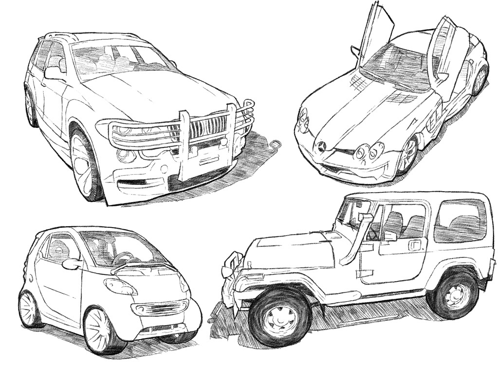 1023x750 Car Drawing Techniques On Behance