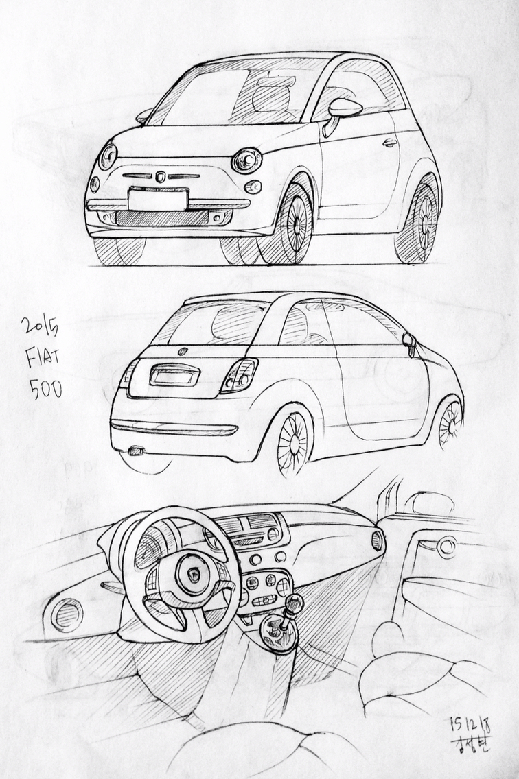 756x1136 Car Drawing 151218 2015 Fiat 500 Prisma On Paper. Kim.j.h Daily