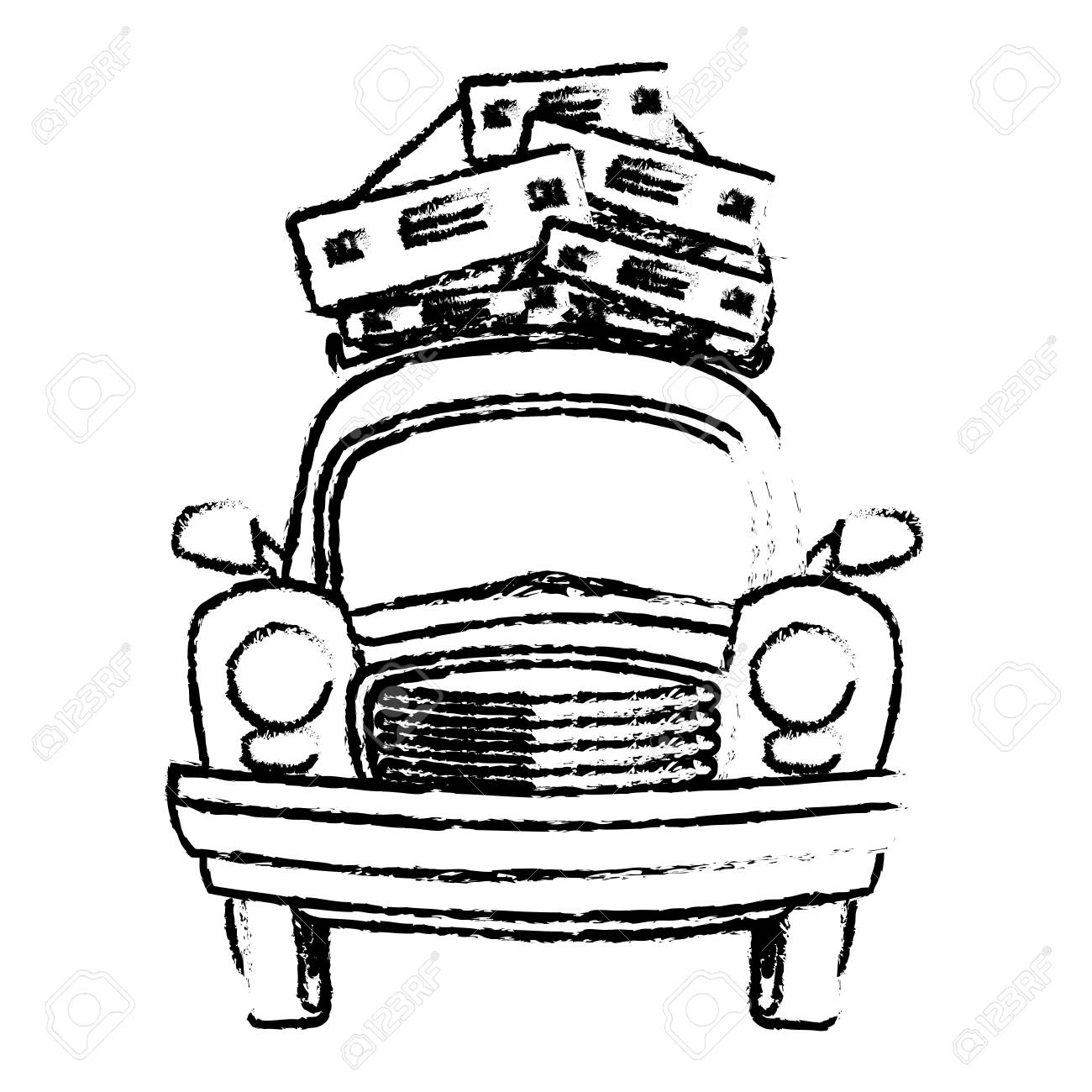 1300x1300 Sketch Vintage Car With Suitcases On Top Traveling Concept Royalty