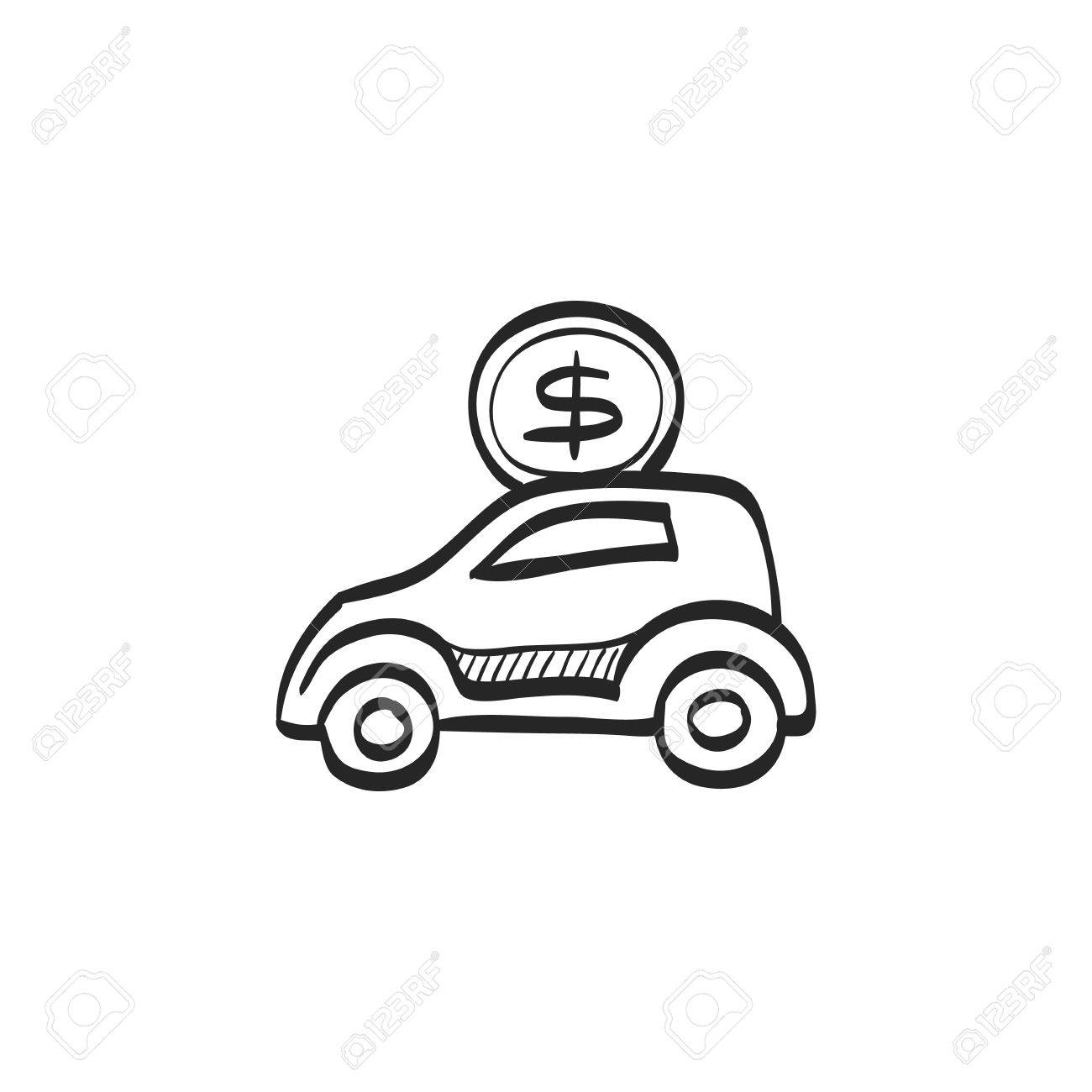 1300x1300 Car Piggy Bank Icon In Doodle Sketch Lines. Saving Kids Banking