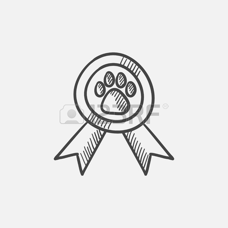 450x450 Dog Award Vector Sketch Icon Isolated On Background. Hand Drawn
