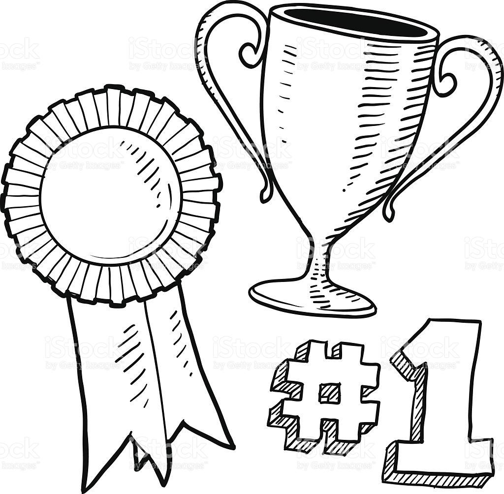 1024x1004 Drawn Trophy Award Ribbon