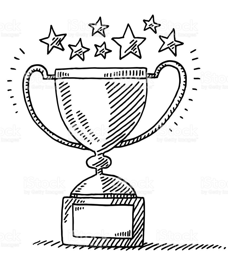 878x1024 Hand Drawn Vector Drawing Of An Achievement Trophy And Stars