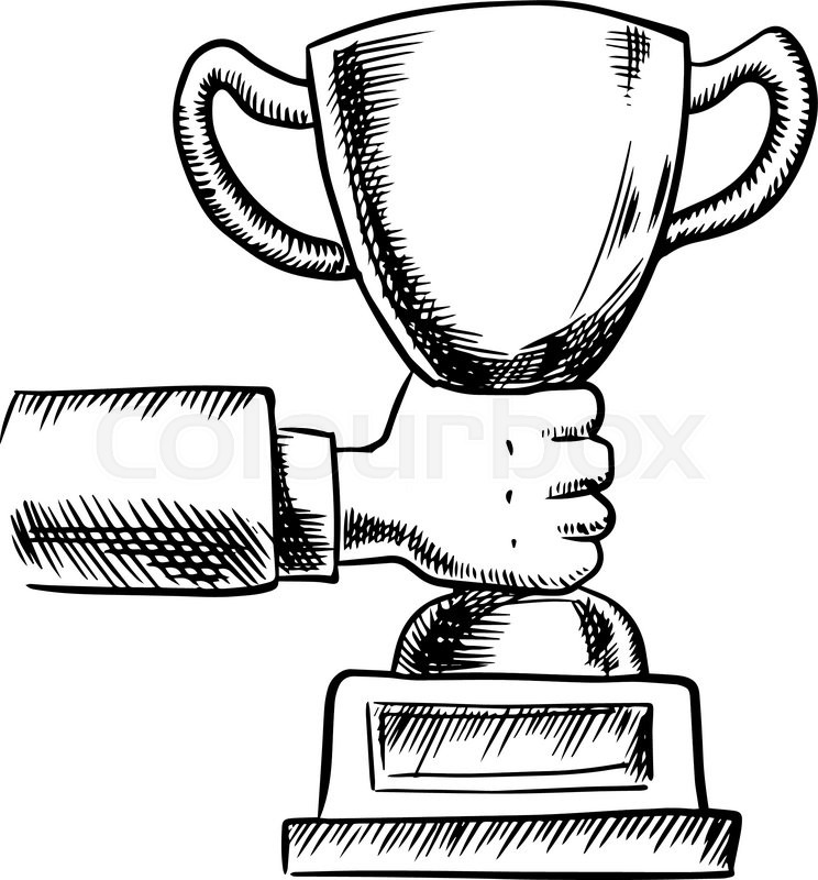 744x800 Sketch Of Businessman Hand Holding Trophy Cup Or Award,