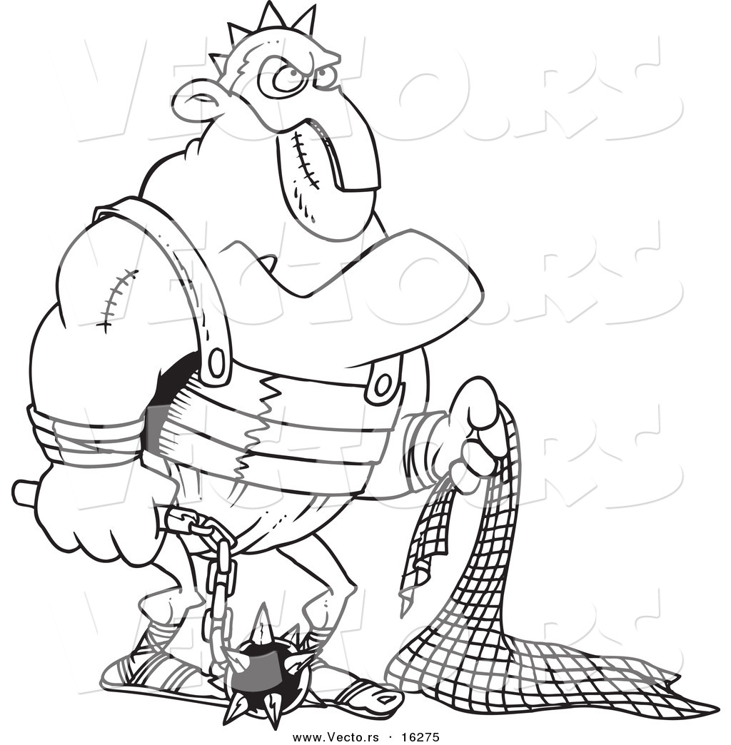 1024x1044 Vector Of A Cartoon Gladiator Holding A Net And Flail