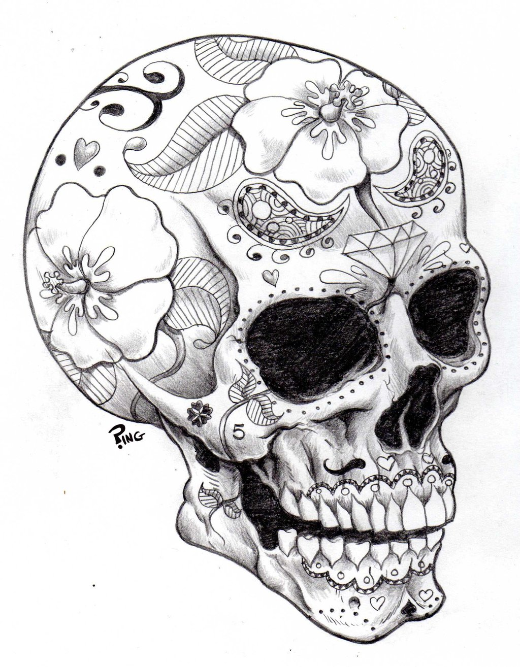 1024x1314 Cool Skull Design Coloring Pages 508696