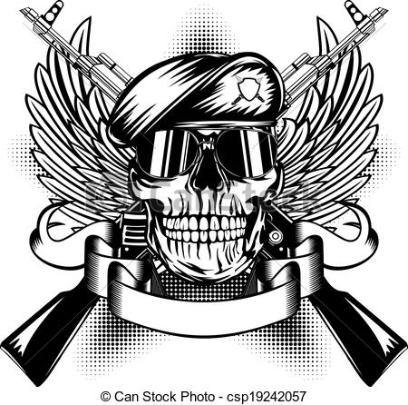 450x446 Drawn Soldiers Skull Logo