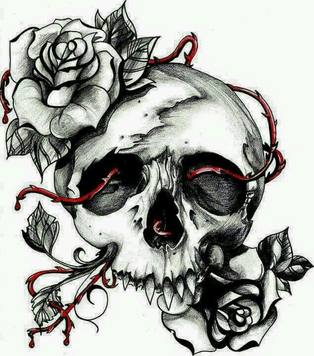 635x720 Skull Roses Skulls Tattoo And Drawings