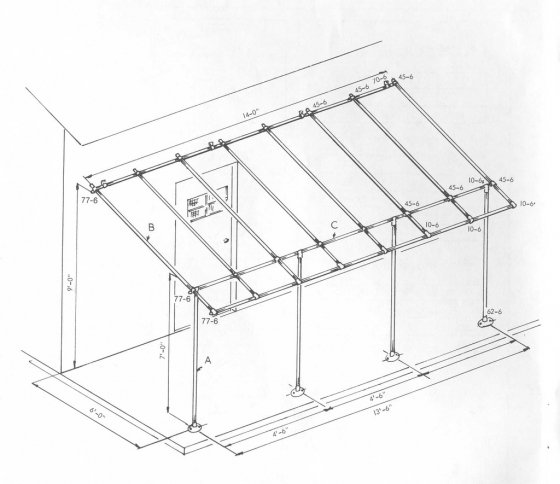 560x484 Awning Frame Using Kee Klamp Fittings
