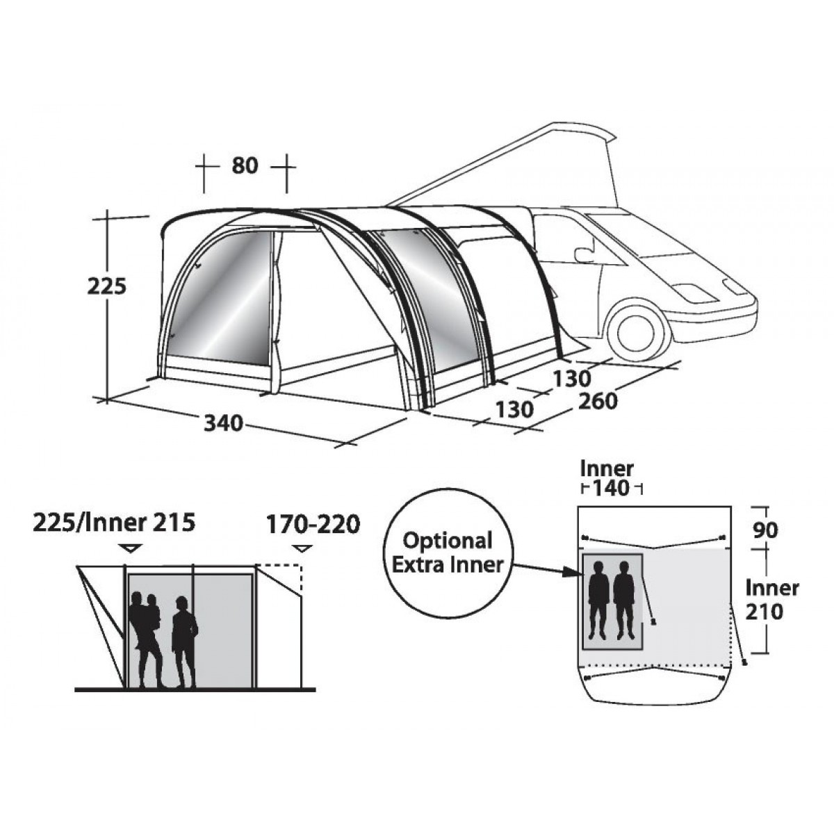 1200x1200 Outwell Smart Air Hollywood Freeway Tent