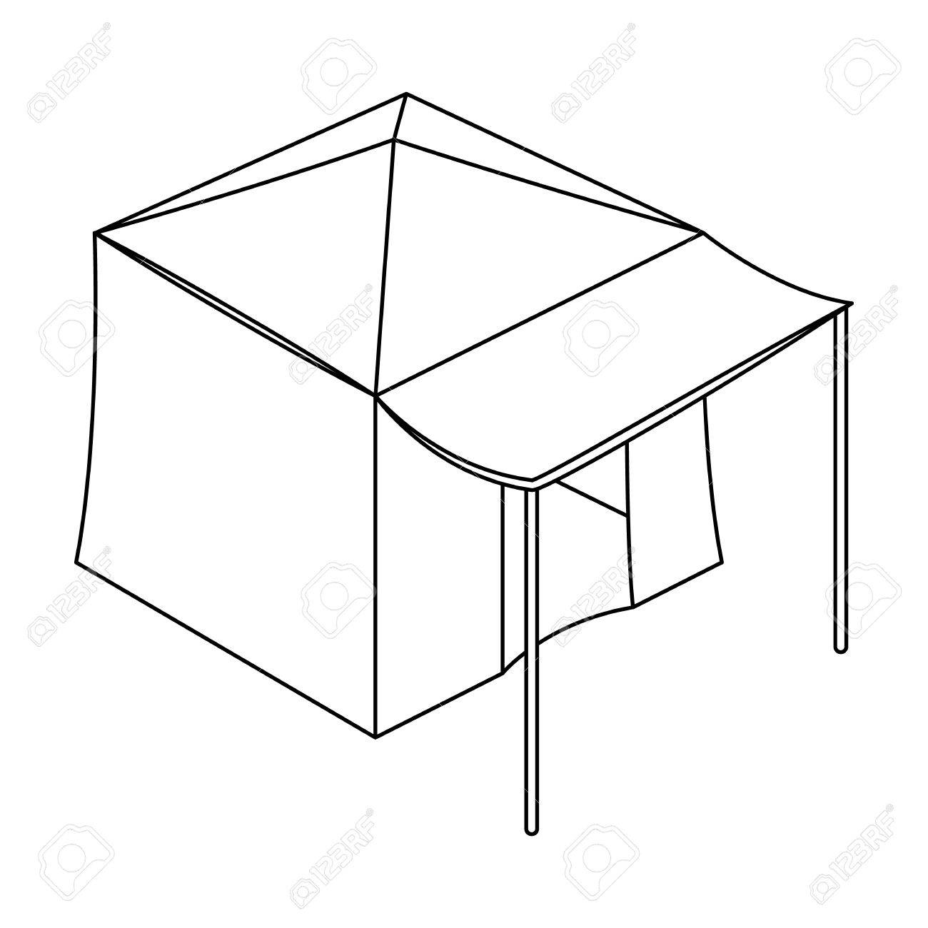 1300x1300 Tent With Awning.tent Single Icon In Outline Style Vector Symbol