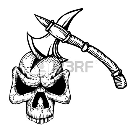 450x450 Cartoon Image Of Axe In Skull Royalty Free Cliparts, Vectors,