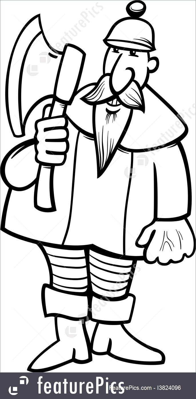 686x1392 Knight With Axe Cartoon Coloring Page Illustration