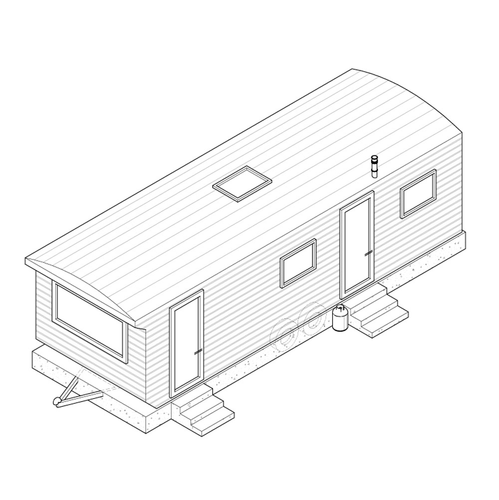 1000x1001 Axonometric Drawing Of The Cement Shoe Caravan Contemporary