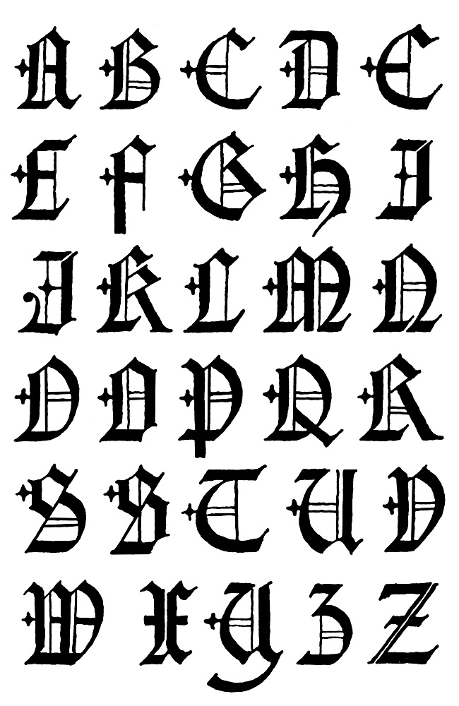 650x1000 Gothic Letters A Z 16th Century, Gothic And English