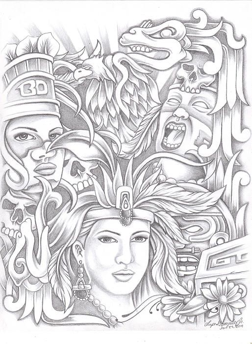 514x700 Aztec Drawings Aztec Drawing By Lupe Gonzalez