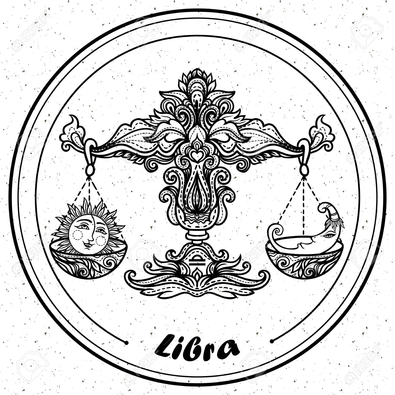 1300x1300 Detailed Libra In Aztec Filigree Line Art Style. Tattoo, Coloring