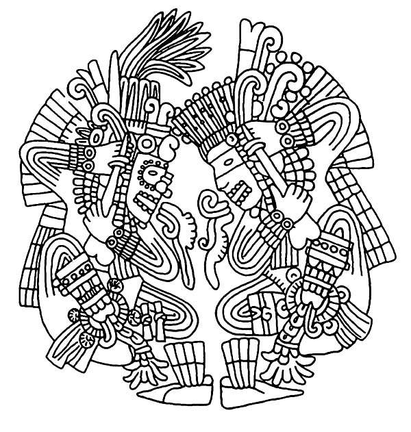 600x631 Glamorous Aztec Coloring Pages 18 For Line Drawings With Aztec