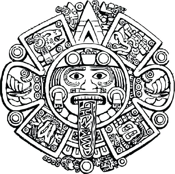 600x598 Aztec Coloring Pages Calendar Stone Coloring Pages Aztec Art