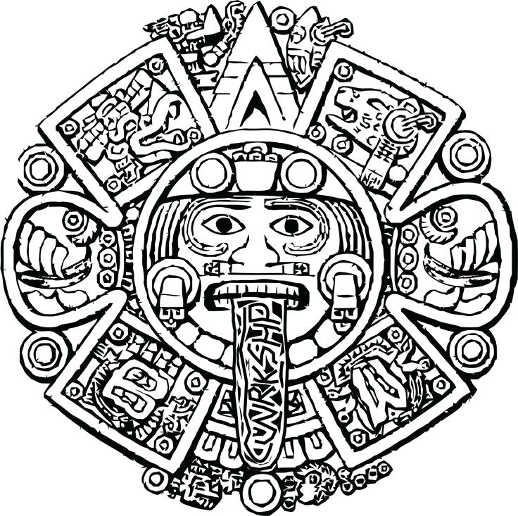 736x733 Aztec Coloring Pages Coloring Pages Free Printable Aztec Art