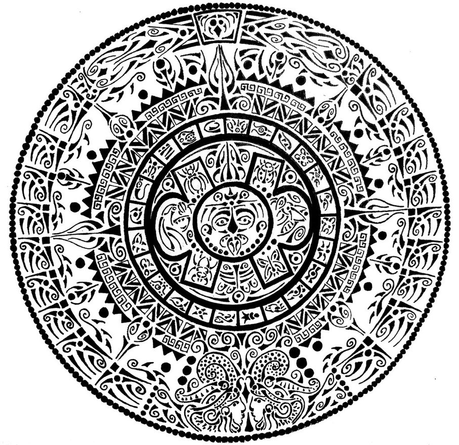 907x880 Aztec Calendar By Curvy Tribal