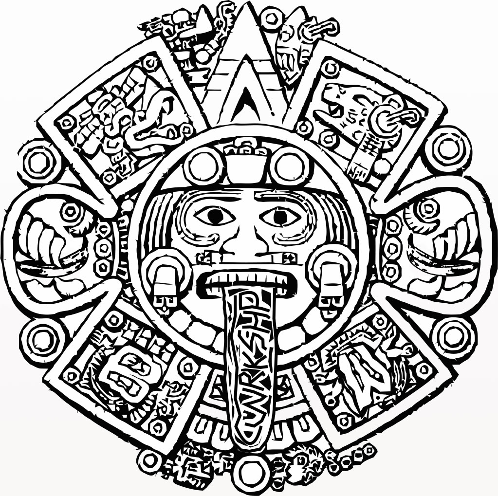 1023x1019 Aztec Calendar Coloring Page Aztec Calendar Coloring Page
