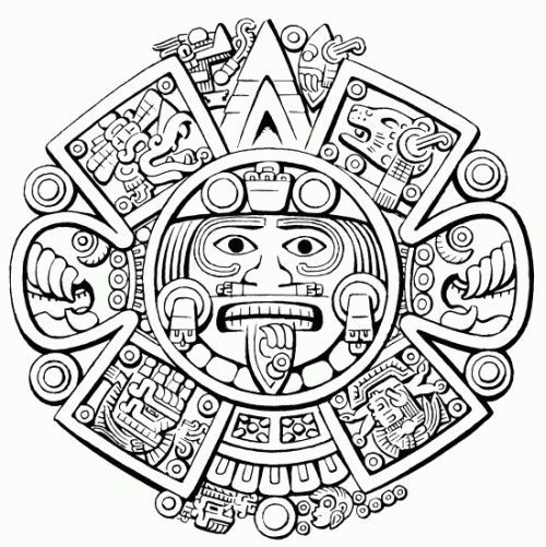 500x501 Coloring Page Aztec Mythology (Gods And Goddesses)