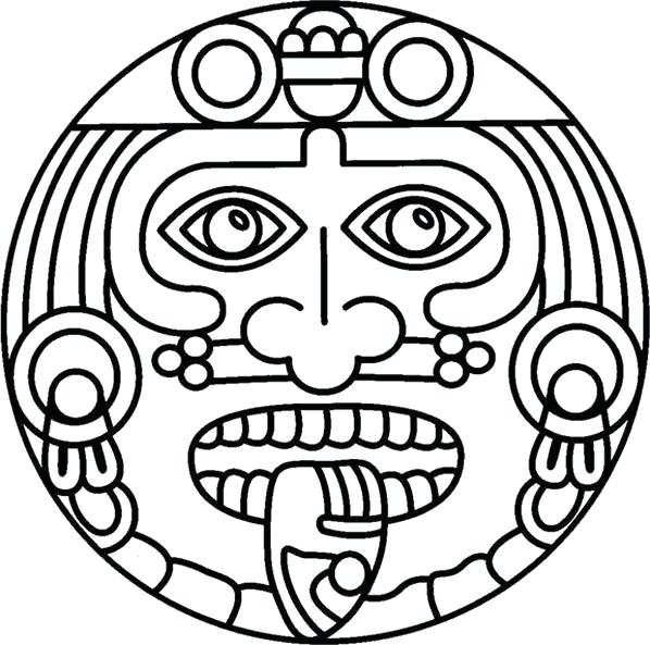 598x593 Aztec Calendar Coloring Page See 9 Best Images Of Calendar