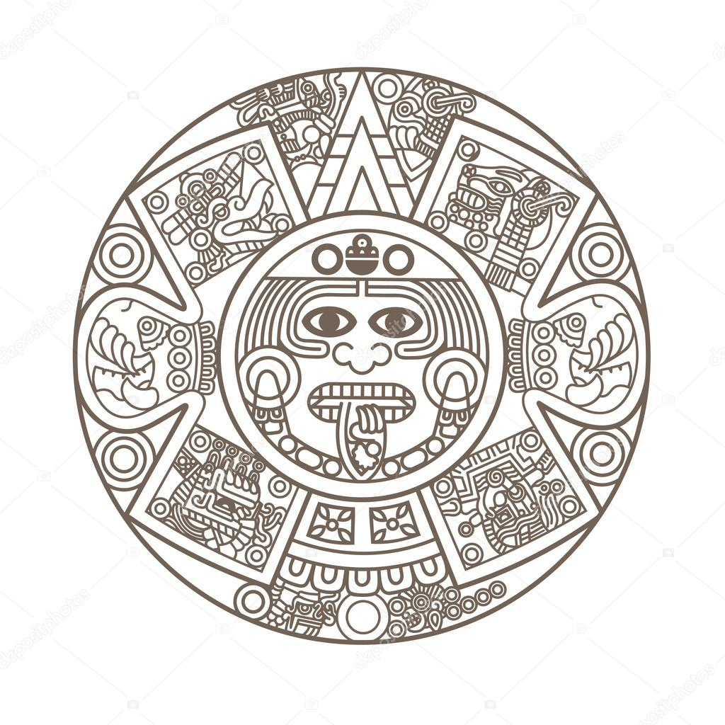 1024x1024 Stylized Aztec Calendar Stock Vector Epic22