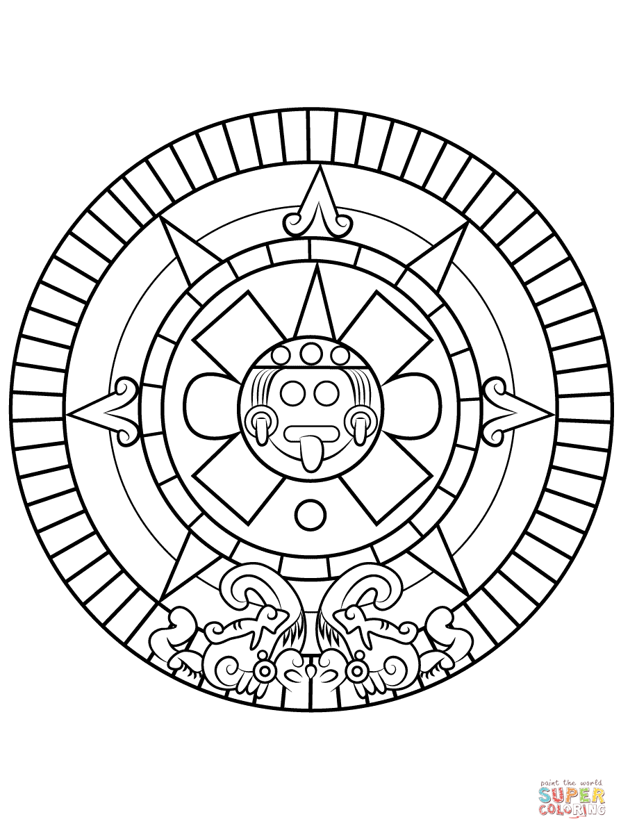 894x1199 Aztec Calendar Coloring Pages