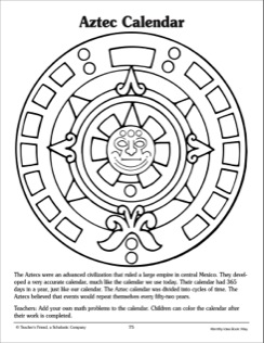 244x316 Aztec Calendar Reference And Pattern Page