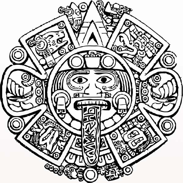 600x598 Aztec Calendar Stone Coloring Pages