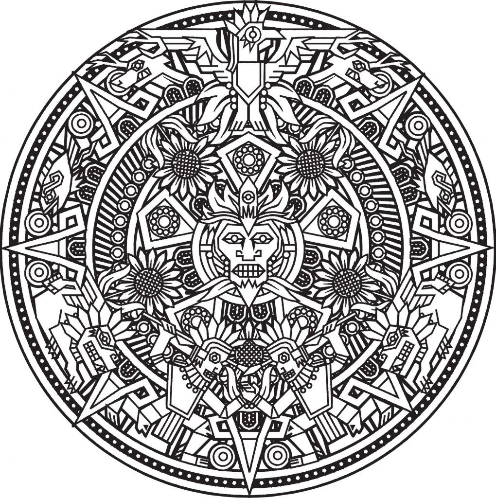 1020x1024 Coloring Pages Mayan Calendar Best Of Aztec Calendar Coloring Page