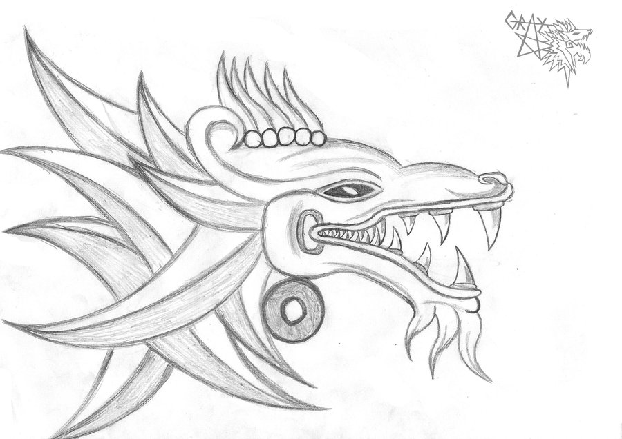900x636 Aztec Dragon Tattoo Sketch