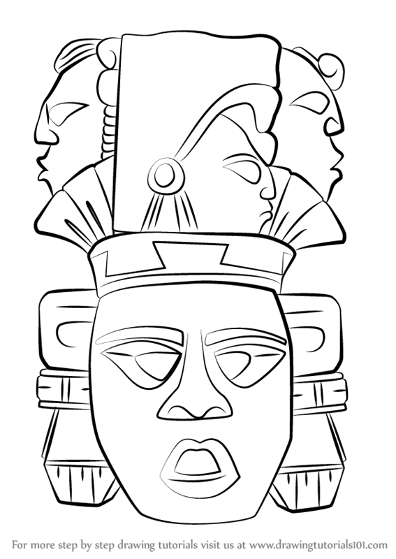 567x800 Learn How To Draw Indian Mayan Aztec Mask (Masks) Step By Step
