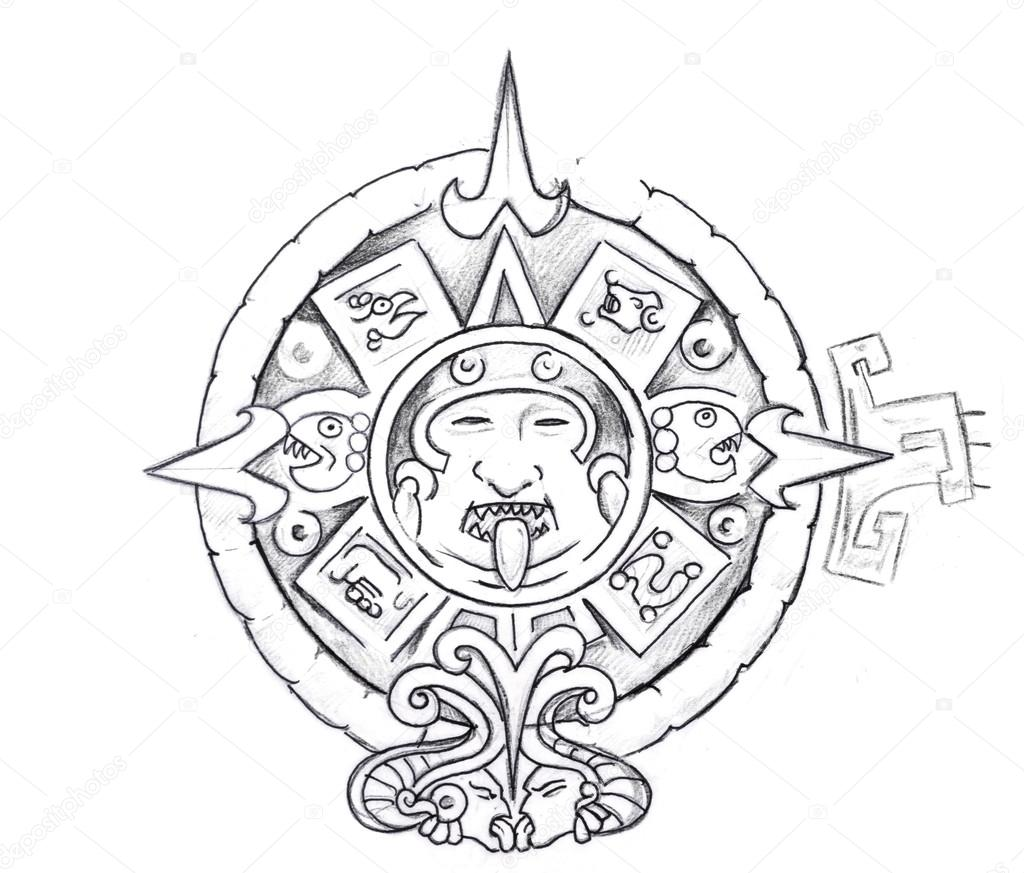 1024x873 Tattoo Art, Sketch Of A Aztec Sun Stock Photo Outsiderzone