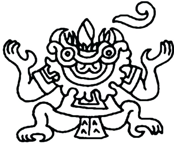 600x515 Awesome Aztec Coloring Pages Print Dragon Colouring Pyramids