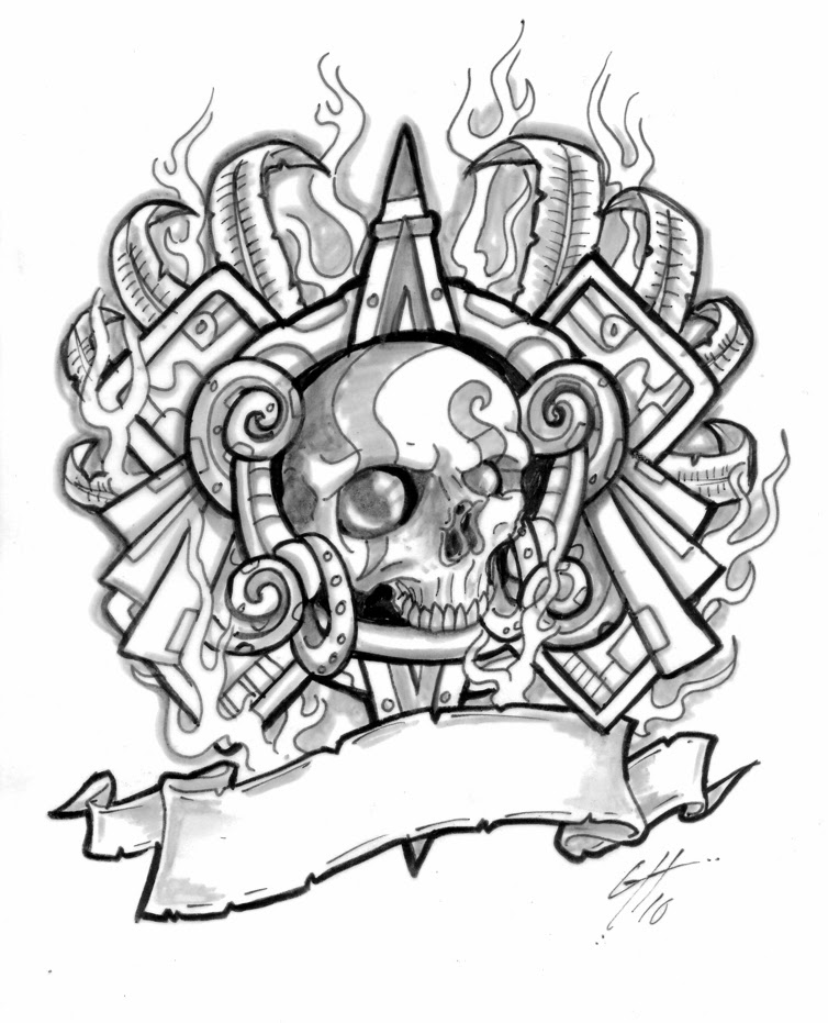 754x931 Collection Of Grey Ink Aztec Skull Face Tattoo Design