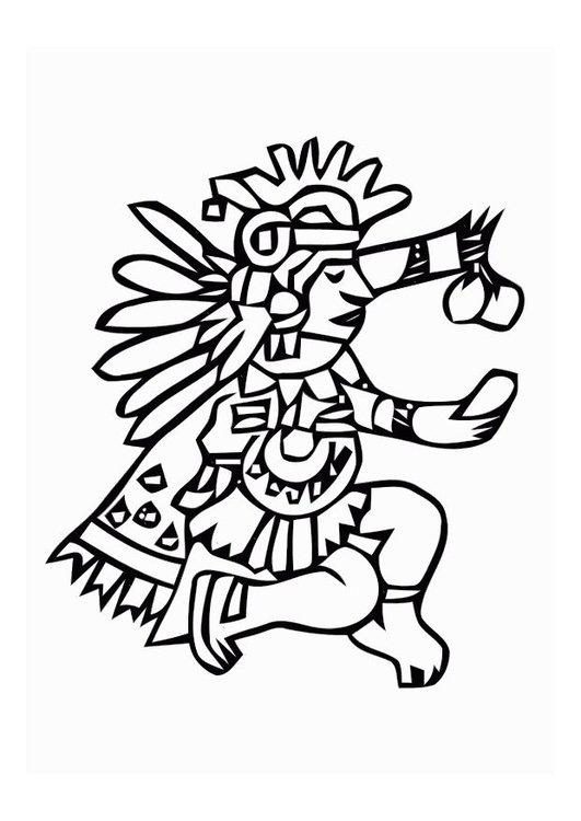 531x750 Coloring Page Aztec God