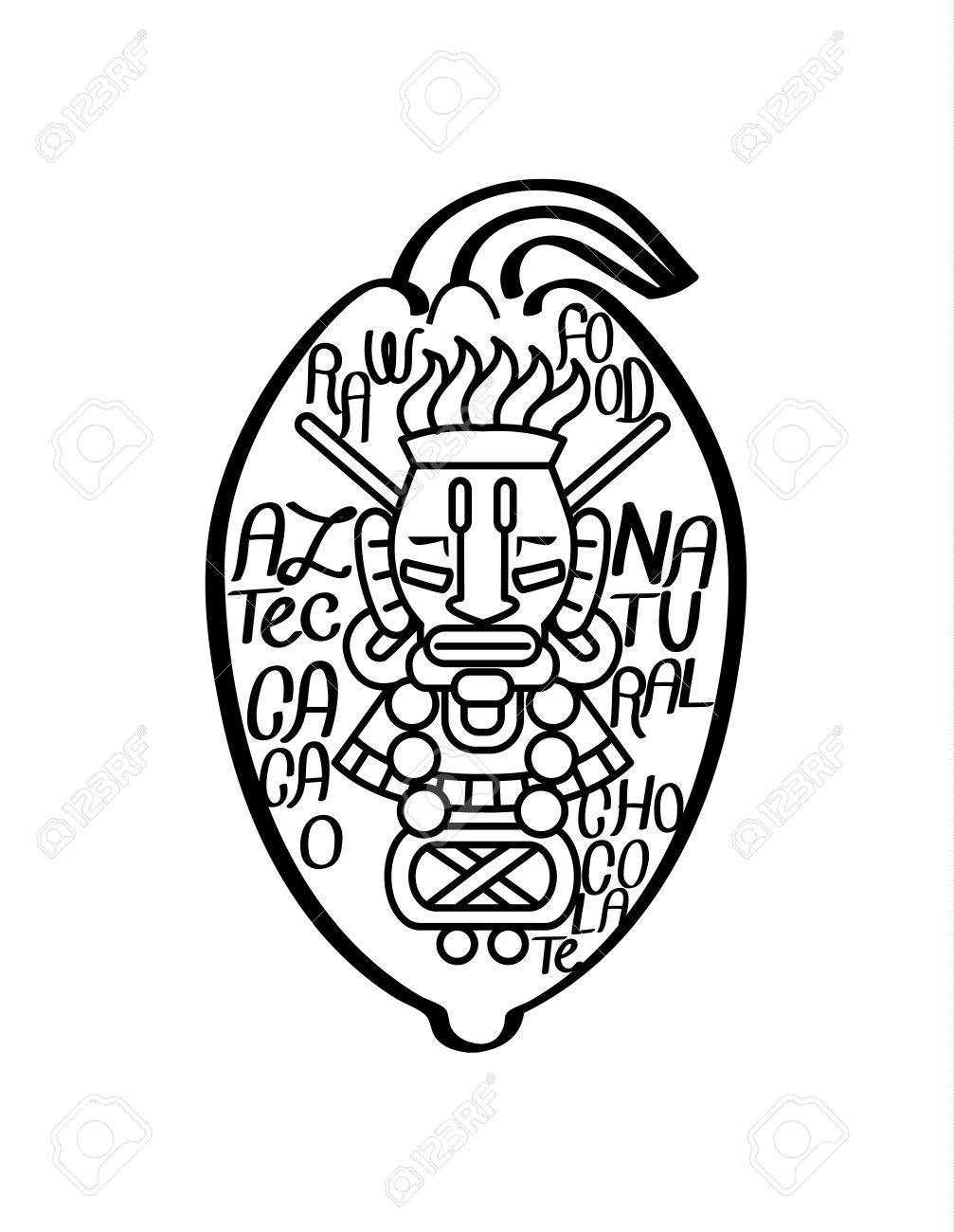 1007x1300 Vector Illustration Sketch Drawing Aztec Cacao Bean, Leaves