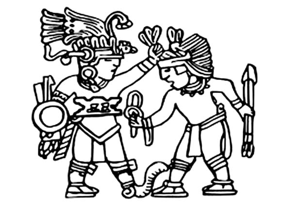 600x425 Aztec Colouring Sheets King Of Aztec Bless His Warrior Colouring