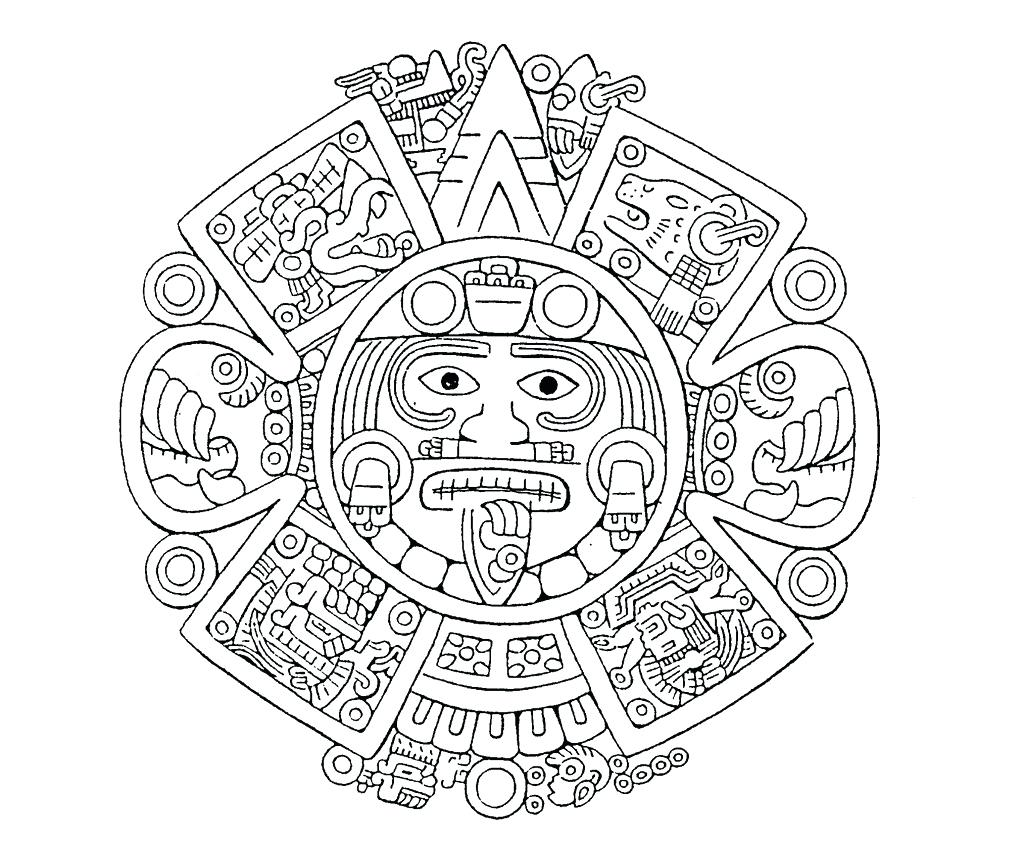 1024x844 Coloring Aztec Calendar Coloring Page Drawing Gag Fire Printable