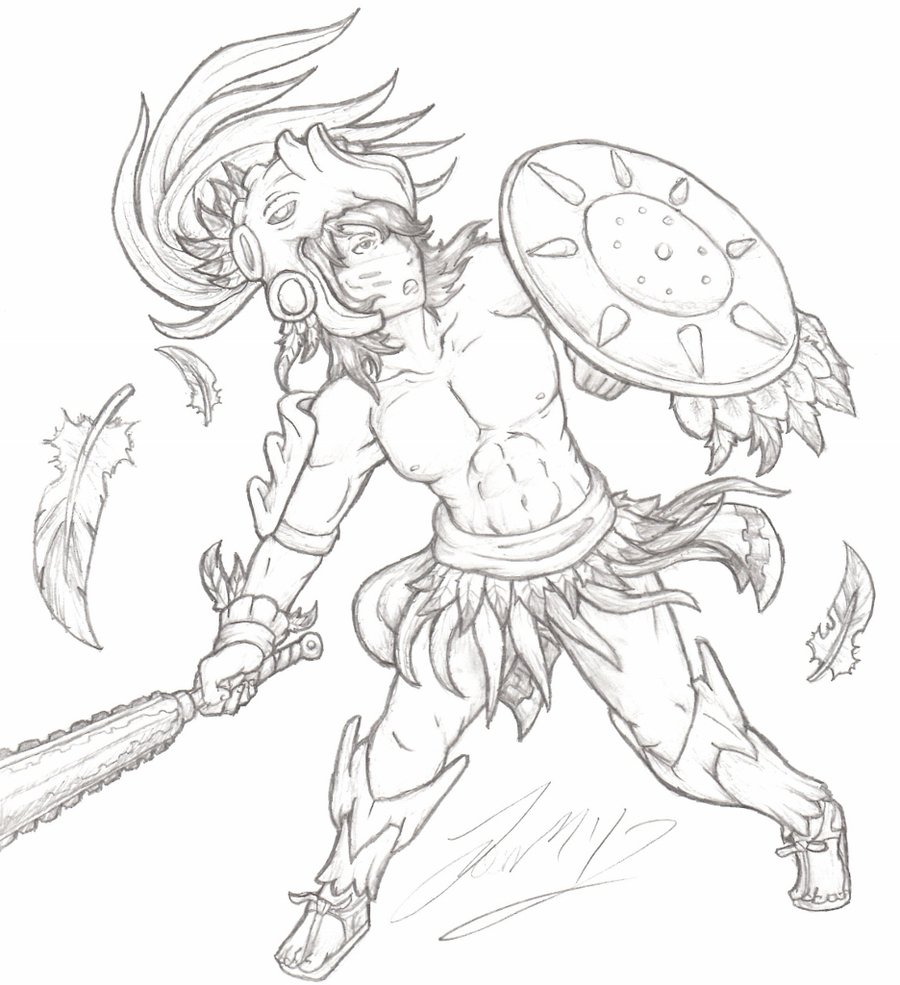 900x985 Aztec Eagle Warrior By Grimdarkcc
