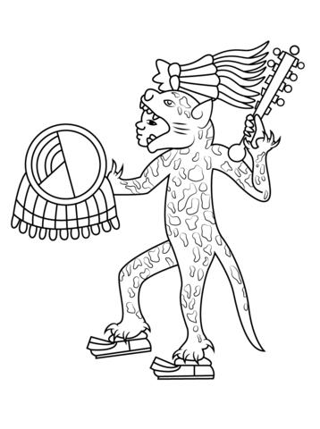 358x480 Aztec Jaguar Warrior Coloring Page Free Printable Coloring Pages