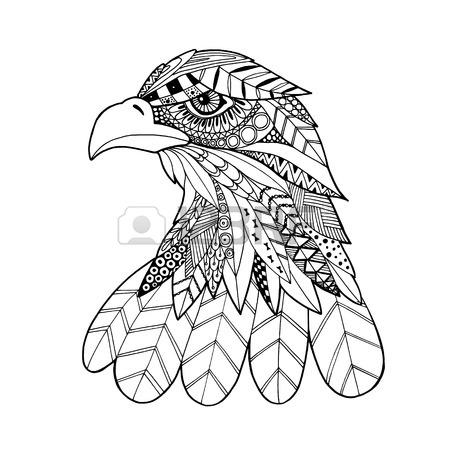 450x450 Ornamental Head Of Eagle Bird, Trendy Ethnic Zentangle Style