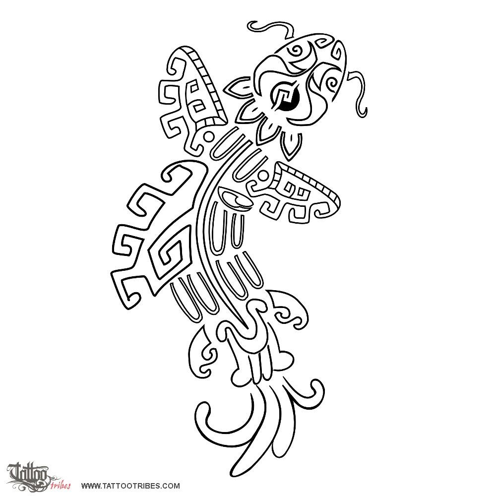 1000x1000 Tattoo Of Aztec Style Koi Carp, Divinity, Glory Tattoo