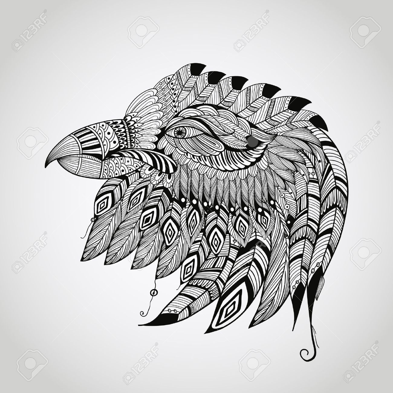 1300x1300 Vector Tattoo Black Hand Drawn, Highly Detailed Eagle Head